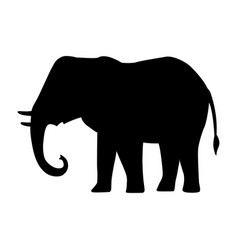 Cartoon silhouette icon black elephant vector