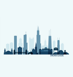 chicago skyline buildings vector image