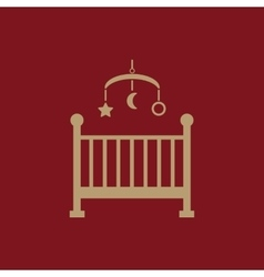 Childrens bed icon Baby bed design Cradle and vector image