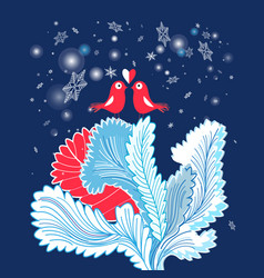 Christmas card with enamored birds vector