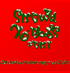 christmas snowy alphabet christmas font with snow vector image
