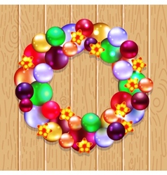 Christmas wreath with fir and holly vector image
