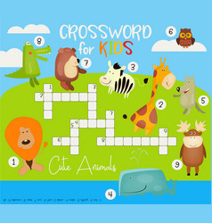 colorful crossword in english vector image