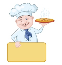 Cook with pizza and poster vector