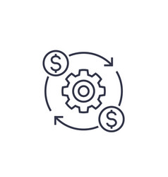 Costs optimization and production efficiency icon vector