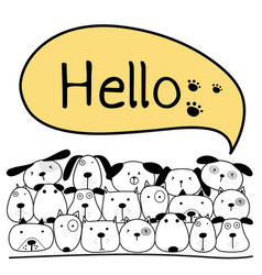 Cute dog with say hello vector