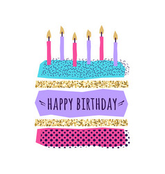 Cute happy birthday card with cake candles vector