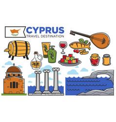 cyprus travel destination promotional poster with vector image