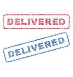 Delivered textile stamps vector