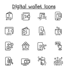 digital wallets icon set in thin line style vector image