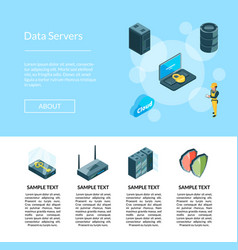 electronic system of data center icons page vector image