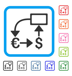 euro dollar flow chart framed icon vector image
