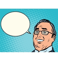 Face business boss comic book bubble vector