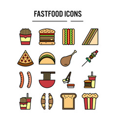 fast food icon in filled outline design for web vector image