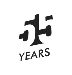 fifty five years emblem template vector image