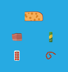 Flat icon eating set of cheddar slice bratwurst vector