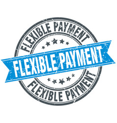 Flexible payment round grunge ribbon stamp vector
