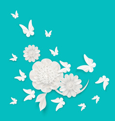 Flora origami elements luxury white flower and vector