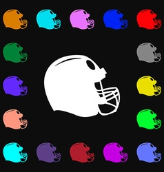 Football helmet icon sign Lots of colorful symbols vector
