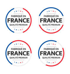 Four french icons french title made in france vector