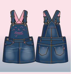 Front and back sides of a denim sundress vector