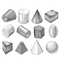 Geometric shapes by hand vector