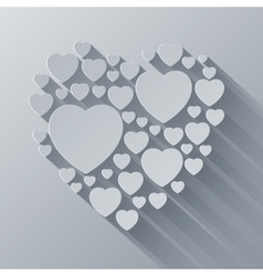 Grey and white paper heart shape on gray vector image