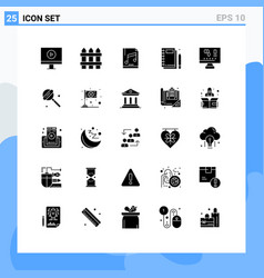 Group 25 modern solid glyphs set for computer vector