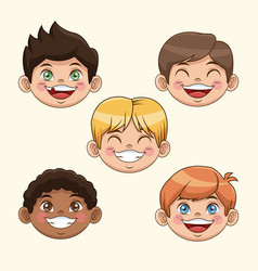 Group of children boys happy faces celebration vector