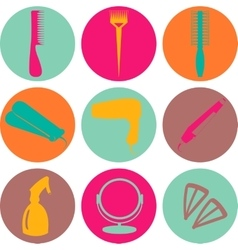 Hair accessories and barber tools color icons vector