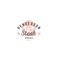 Hand drawn logo meat steak silhouette and modern vector