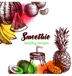 Hand drawn sketch watercolor fruits background vector