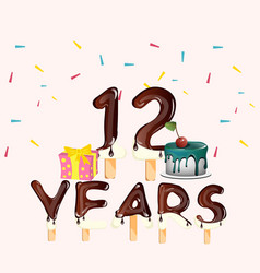 happy birthday number 12 with gift vector image
