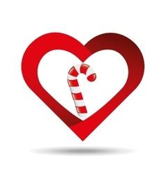 Heart cartoon candy cane sweet icon design vector