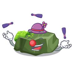 Juggling green rock moss isolated on cartoon vector