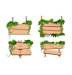 liana wooden signs set vector image