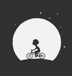 little boy rides on a bicycle vector image