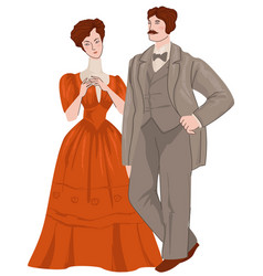 Man and woman couple art nouveau epoch vector