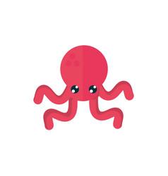 Marine life red octopus cartoon sea fauna animal vector
