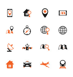 Navigation color icon set vector