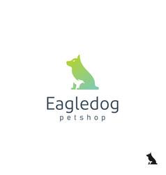 negative space dog with eagle god for pet shop vector image
