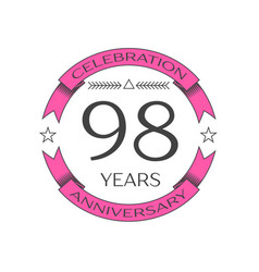 Ninety eight years anniversary celebration logo vector