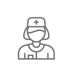 Nurse health worker line icon vector