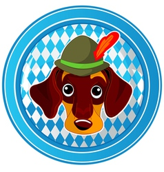 Oktoberfest circle dog button vector image