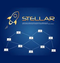 on blue background stellar blockchain vector image