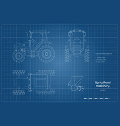 Outline blueprint tractor side front and top vector