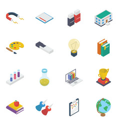 Pack learning accessories isometric icons vector