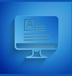 Paper cut computer monitor with resume icon vector
