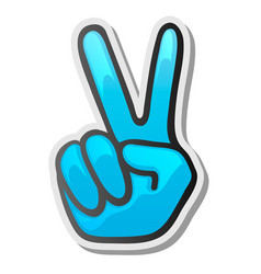 Peace hand gesture sticker two fingers up vector