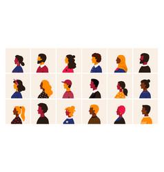 people profile cartoon multiethnic man and women vector image